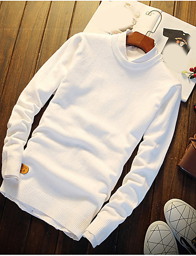 Men's Other Regular Pullover,Solid Round Neck Long Sleeves Rayon Spring Thin Micro-elastic