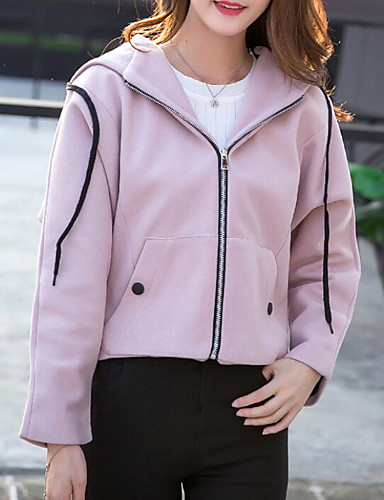 Women's Daily Simple Casual Fall Jacket,Solid Shawl Lapel Long Sleeve Regular Polyester