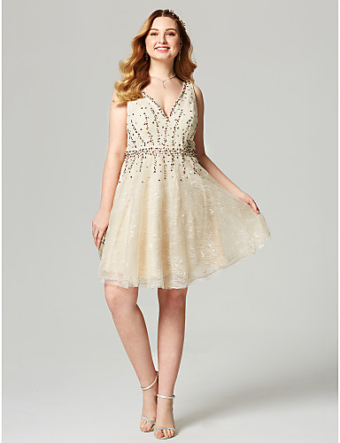 A-Line / Fit & Flare V Neck Knee Length Lace Cocktail Party / Homecoming / Prom Dress with Beading / Sash / Ribbon by TS Couture®