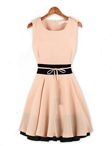 Women's Going out A Line / Skater Dress - Color Block Ruched Mini / Summer