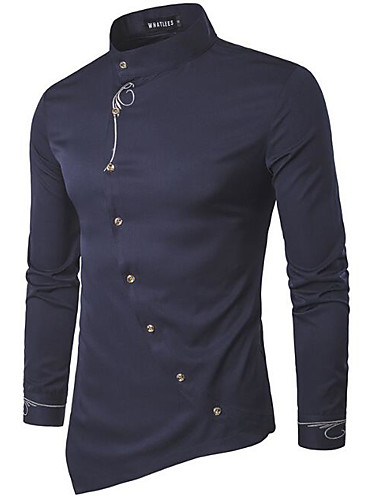 Men's Casual/Daily Work Simple Shirt,Solid Stand Long Sleeves Cotton Others