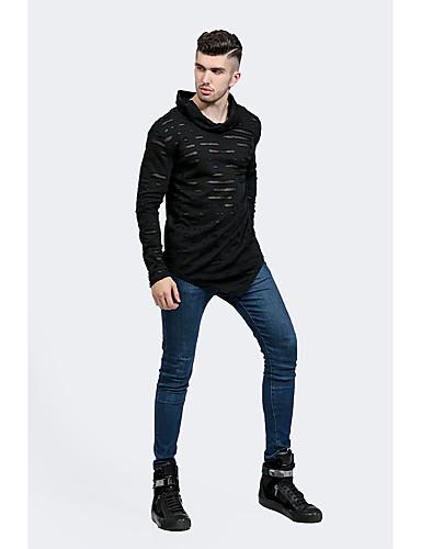 Bomull Polyester Tynn Langermet,Rullekrage T-skjorte Ensfarget Vår Høst Vintage Ut på byen Fritid/hverdag Klubb Herre