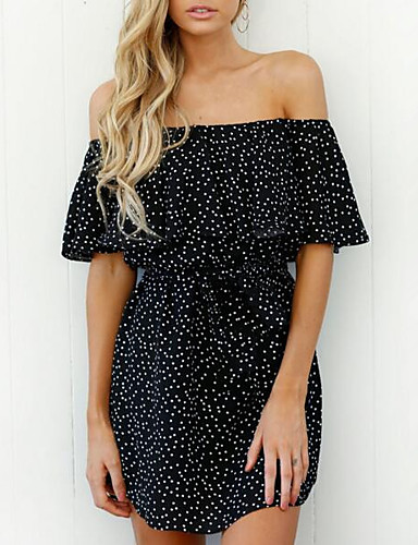 Women's Going out Casual Loose Dress - Polka Dot, Ruffle Boat Neck