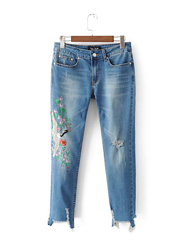 Women's Mid Rise strenchy Relaxed Jeans Pants,Street chic Embroidery Spring Summer Fall