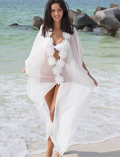 cheap Cover Ups-Women's White Cover-Up Swimwear - Solid Colored White Mesh One-Size White