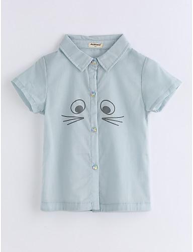 Poikien Yhtenäinen väri Ruutukuvio T-paita Puuvilla Kesä Lyhythihainen Vaalean vihreä
