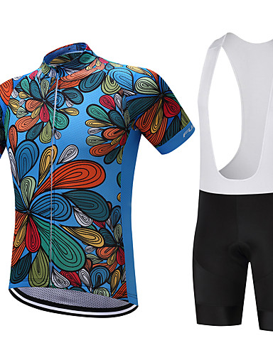 cheap Cycling Clothing-FUALRNY® Men's Short Sleeve Cycling Jersey with Bib Shorts - Dark Blue Red Bike Clothing Suit Quick Dry Reflective Strips Sweat-wicking Sports Polyester Coolmax® Silicon Floral / Botanical Mountain