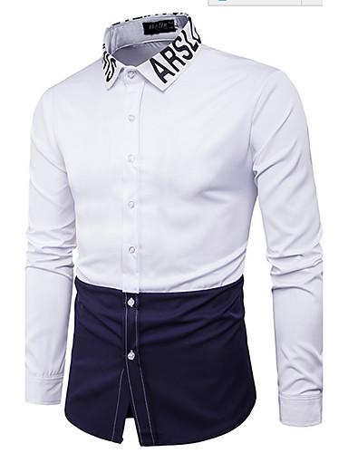 Bomull Langermet,Skjortekrage Skjorte Fargeblokk Enkel Fritid/hverdag Herre