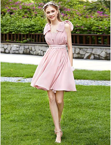 A-Line Strapless Knee Length Chiffon Bridesmaid Dress with Bow(s) / Sash / Ribbon / Pleats by LAN TING BRIDE® / Convertible Dress