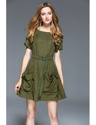 Women's Going out Cute Sheath Dress,Solid Round Neck Above Knee Short Sleeves Cotton Summer Mid Rise Micro-elastic Medium