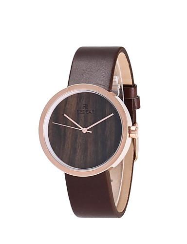 Mulheres Relógio Madeira Relógio de Moda Japanês Quartzo de madeira PU Banda Amuleto Elegant Marrom