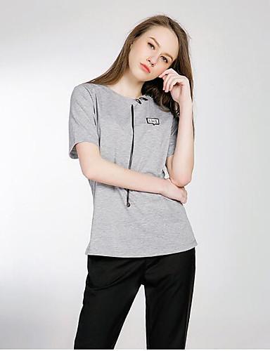 Polyester Medium Kortermet,Rund hals T-skjorte Ensfarget Sommer Søt Ut på byen Fritid/hverdag Dame