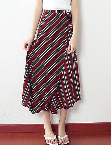 Women's Going out Asymmetrical Skirts Swing Color Block Summer
