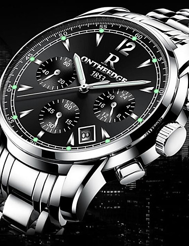 Homens Quartzo Relógio de Pulso Relógio Militar Relógio Esportivo Japanês Calendário Impermeável Noctilucente Cronômetro Luminoso Aço