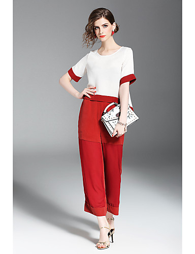 Women's Holiday Going out Daily Work Casual Summer T-shirt Pant Suits