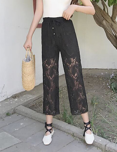 Women's Mid Rise Inelastic Chinos Pants,Cute Wide Leg Lace Solid