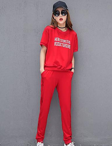 Kortermet,Rund hals T-skjorte Bukse Drakter Sitater og uttrykk Sommer Moderne Daglig Avslappet Dame