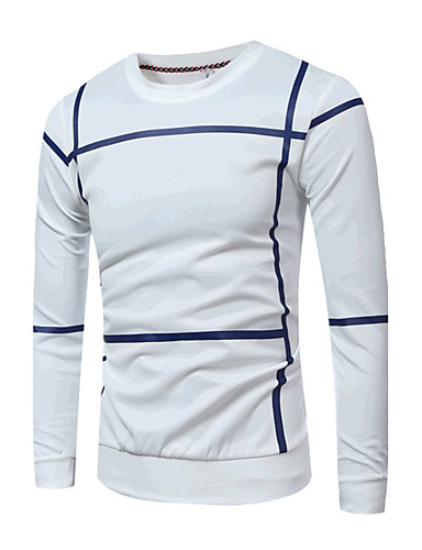 Men's Sports Daily Casual Vintage Sweatshirt Striped Stripe Round Neck Micro-elastic Cotton Long Sleeve Spring Fall