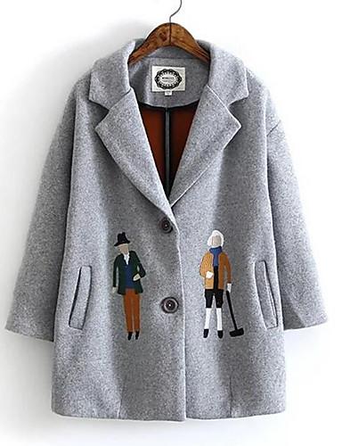 Damen Solide Einfach Lässig/Alltäglich Mantel,Schal Revers Winter Lange Ärmel Standard Elasthan
