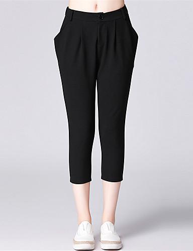 Damen Einfach Mittlere Hüfthöhe Mikro-elastisch Chinos Lose Hose Solide