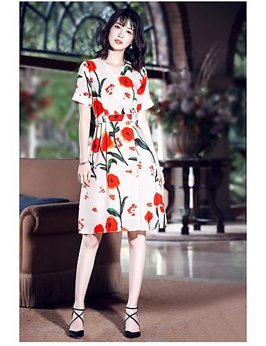 Damen A-Linie Kleid-Ausgehen Niedlich Druck V-Ausschnitt Knielang Kurzarm Polyester Sommer Mittlere Hüfthöhe Mikro-elastisch Mittel