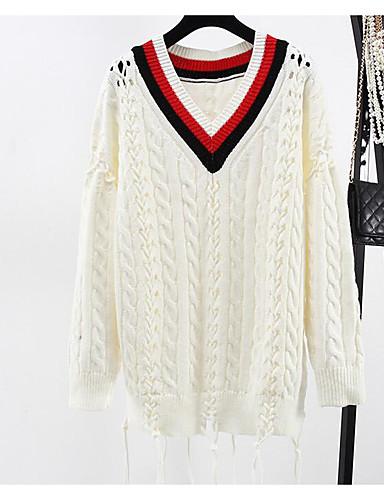Damen Standard Pullover-Lässig/Alltäglich Solide Druck V-Ausschnitt Langarm Polyester Frühling Herbst Mittel Mikro-elastisch