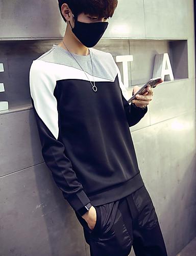 Herren Pullover Sport Lässig/Alltäglich Übergröße Solide Einfarbig Rundhalsausschnitt Mikro-elastisch Baumwolle Lange ÄrmelHerbst