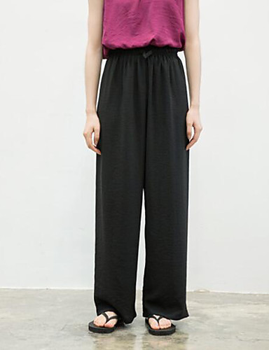 Damen Einfach Mittlere Hüfthöhe Mikro-elastisch Schlank Breites Bein Hose Sommer Solide