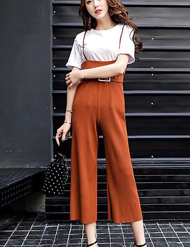 Damen Solide Einfach Ausgehen Lässig/Alltäglich T-Shirt-Ärmel Hose Anzüge,Rundhalsausschnitt Sommer Kurzarm