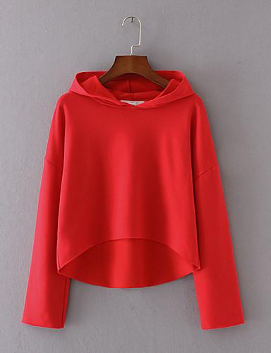 Damen Kapuzenshirt Ausgehen Lässig/Alltäglich Einfach Niedlich Aktiv Solide Mit Kapuze Mikro-elastisch Baumwolle Polyester Langärmelige