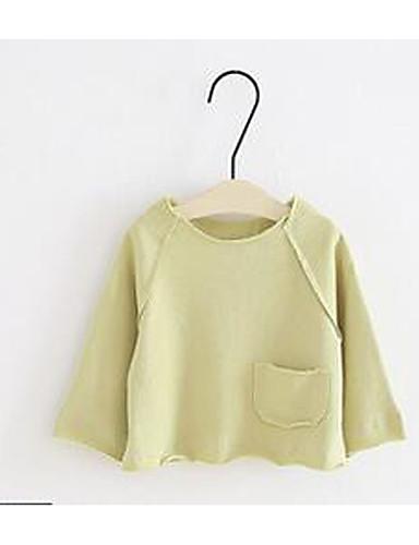 Baby Mädchen T-Shirt Solide Baumwolle Gerüscht Grün Rosa Dunkelgray Grau