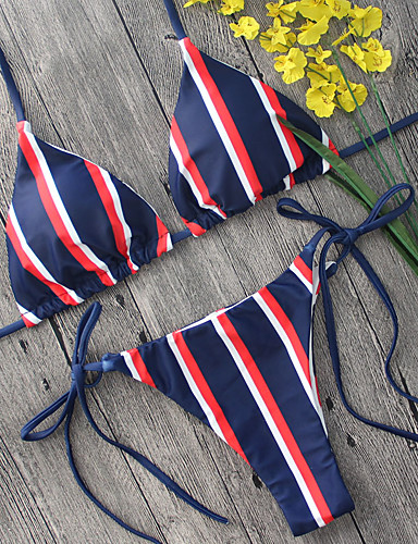 Women's Plunging Neckline / Color Block Halter Neck Bikini - Striped