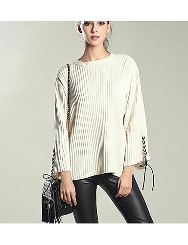 Damen Standard Pullover-Lässig/Alltäglich Einfach Solide Rundhalsausschnitt Langarm PU Acryl Herbst Winter Mittel Mikro-elastisch