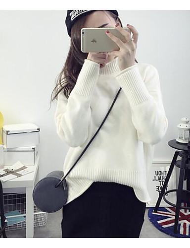 Damen Standard Pullover-Lässig/Alltäglich Einfach Solide Geometrisch Rollkragen Langarm Baumwolle Herbst Winter Mittel Mikro-elastisch