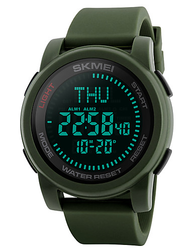 SKMEI Men's Sport Watch / Military Watch / Wrist Watch Japanese Alarm / Calendar / date / day / Chronograph Silicone Band Casual / Fashion Black / Green / Water Resistant / Water Proof / Compass