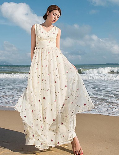 Damen Hülle Kleid Blumen Maxi V-Ausschnitt Hohe Hüfthöhe
