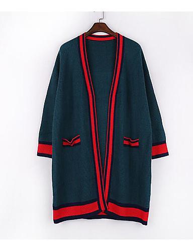 Damen Lang Strickjacke-Lässig/Alltäglich Einfach Solide V-Ausschnitt Langarm Baumwolle Frühling Herbst Mittel Mikro-elastisch