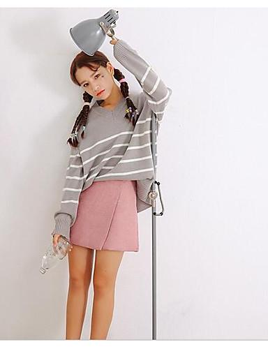 Damen Standard Pullover-Ausgehen Lässig/Alltäglich Einfach Niedlich Gestreift V-Ausschnitt Langarm Baumwolle Herbst Mittel Mikro-elastisch