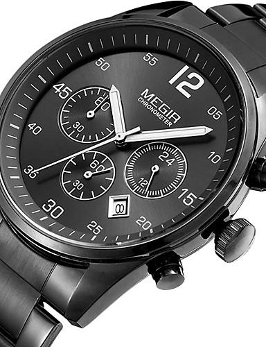 MEGIR Herrn Uhr Holz Einzigartige kreative Uhr Armbanduhr Modeuhr Sportuhr Armbanduhren für den Alltag Quartz Kalender Edelstahl Band
