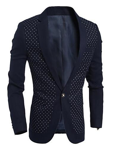 Herren Solide Punkt Einfach Lässig/Alltäglich Blazer,Schal Revers Winter Lange Ärmel Standard Polyester