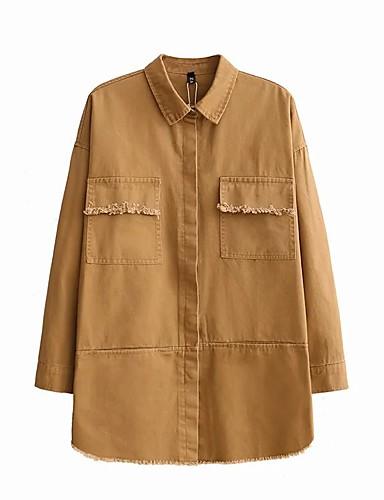 Damen Solide Einfach Chinoiserie Ausgehen Lässig/Alltäglich Jacke,Hemdkragen Frühling Herbst Langärmelige Standard Baumwolle Andere