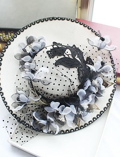 abordables Chapeau & coiffure-Mousseline de soie / Dentelle / Tissu Fascinators / Chapeaux avec 1 Mariage / Occasion spéciale / Anniversaire Casque