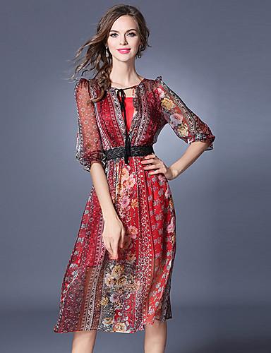Damen Hülle Chiffon Kleid-Ausgehen Lässig/Alltäglich Street Schick Gestreift Rundhalsausschnitt Midi Halbe Ärmel Polyester Sommer Herbst