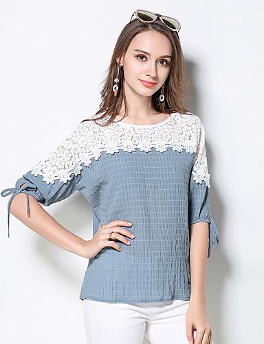 Damen Einfarbig Niedlich Ausgehen T-shirt,Rundhalsausschnitt Sommer Halbe Ärmel Baumwolle