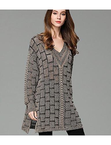Damen Lang Pullover-Lässig/Alltäglich Einfach Verziert V-Ausschnitt Langarm Baumwolle Herbst Winter Mittel Dehnbar