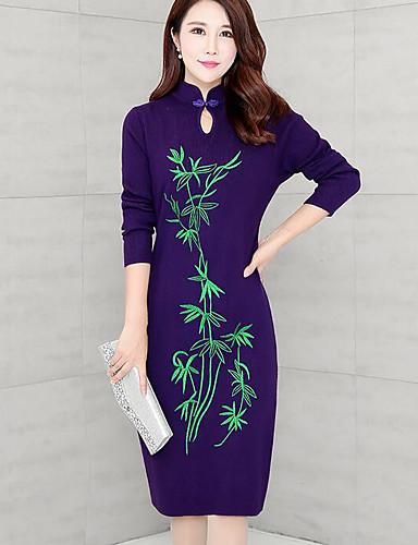 Damen Bodycon Kleid-Ausgehen Druck Rundhalsausschnitt Übers Knie Langarm Baumwolle Herbst Mittlere Hüfthöhe Mikro-elastisch Mittel