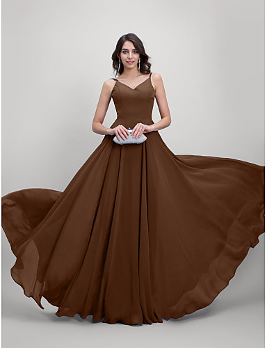 cheap Evening Dresses-A-Line Spaghetti Strap Sweep / Brush Train Chiffon Beautiful Back Prom / Formal Evening Dress with Pleats by TS Couture®