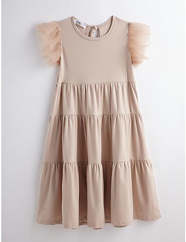 Mädchen Kleid Solide Baumwolle Sommer Kurzarm Gerüscht Kamel