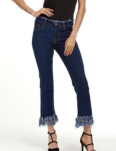 Damen Einfach Mittlere Hüfthöhe Mikro-elastisch Jeans Bootcut Hose Solide