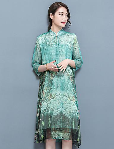 Women's Plus Size Shift Dress Print Stand / Summer